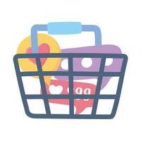 achats de réseaux sociaux comme chat et suivre isolé sur fond blanc