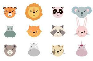 collection de visages d'animaux mignons vecteur