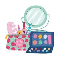 maquillage cosmétique produit mode beauté manucure et pédicure sac miroir palette de fard à paupières vecteur