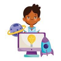 retour à l'école, étudiant garçon ordinateur planète fusée dessin animé éducation élémentaire