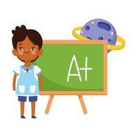 retour à l'école, étudiant garçon tableau noir planète science éducation élémentaire dessin animé