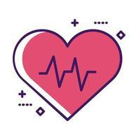 ligne d'impulsion de cardiologie cardiaque médicale et style de remplissage