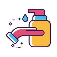 lavage des mains en utilisant la ligne de bouteille de savon et le style de remplissage