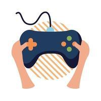 mains avec contrôle de jeu vidéo style plat icône vector design