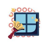 brosse, nettoyage, fenêtre, plat, style, icône, vecteur, conception