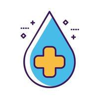 symbole de croix médicale dans la ligne de baisse et le style de remplissage