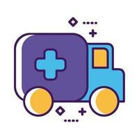 ligne de véhicule de voiture ambulance et style de remplissage