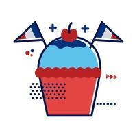 Cupcake avec des drapeaux de france design plat style vector illustration