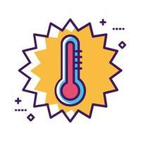 ligne d'outil de thermomètre médical et style de remplissage