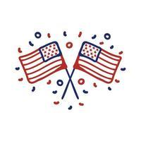 icône de style de ligne de drapeaux usa