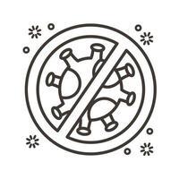 particule de virus covid19 avec style de ligne de symbole refusé