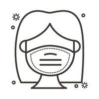 femme à l'aide de l'icône de style de ligne masque facial
