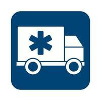 icône de style de ligne voiture ambulance vecteur