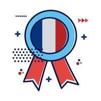 médaille avec icône de style plat drapeau france