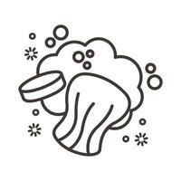 barre de savon avec mousse et icône de style de ligne de particules covid19