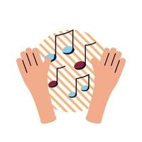 mains avec des notes de musique design plat style icône vector