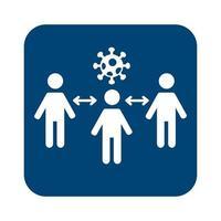 les humains et la particule covid19 avec des flèches pour le style de ligne de distance sociale vecteur