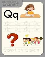 feuille de calcul de traçage alphabet avec lettre q et q