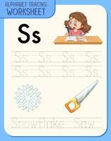 feuille de calcul de traçage alphabet avec lettre s et s vecteur