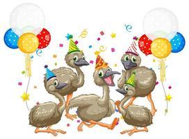 Groupe d'oie en personnage de dessin animé de thème de fête sur fond blanc vecteur