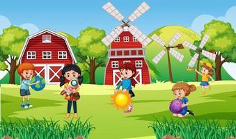 scène avec de nombreux enfants à la ferme vecteur