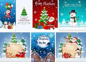 ensemble de différentes cartes postales ou affiches de Noël vecteur