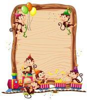 Modèle de planche de bois vierge avec des singes en thème de fête isolé