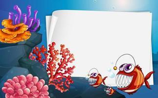 Bannière de papier vierge avec baudroie et éléments de la nature sous-marine sur le fond sous-marin