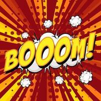 bulle de discours comique de libellé de boom sur rafale vecteur