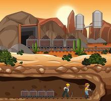 paysage de la scène des mines de charbon au moment du coucher du soleil