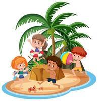 enfants de l & # 39; île isolés vecteur