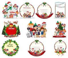 ensemble d'emblèmes et de scènes de Noël vierges