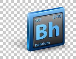 élément chimique bohrium. symbole chimique avec numéro atomique et masse atomique.