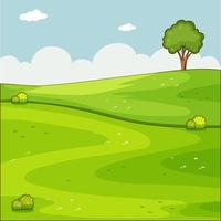 scène de nature vierge verte prairie vecteur