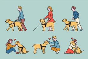 un chien-guide aveugle et une personne aveugle marchant avec son aide.