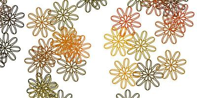 disposition naturelle de vecteur vert clair, jaune avec des fleurs.