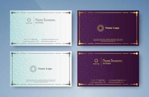 carte de visite de style classique en couleur violette et blanche
