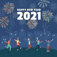 fête des feux d'artifice du nouvel an vecteur