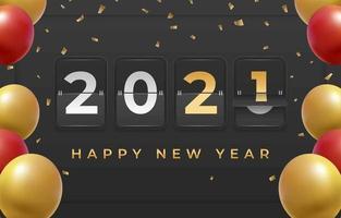 compte à rebours du tableau de bord du nouvel an 2021