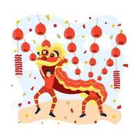danse du dragon à la fête du nouvel an chinois vecteur