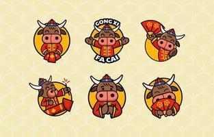 pack d'autocollants de bœuf mignon pour lunaire vecteur