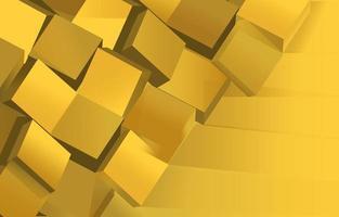 fond d'or abstrait cube empilé vecteur