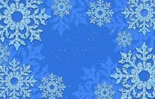 fond bleu jonché de flocons de neige vecteur