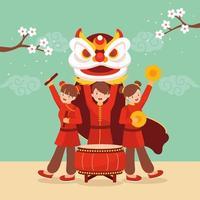 personnes exécutant la danse du lion pendant le nouvel an chinois vecteur