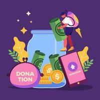 aider à stimuler les dons physiquement et virtuellement vecteur