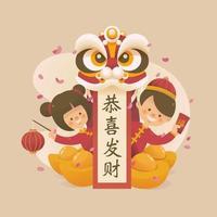 garçon et fille saluant le nouvel an chinois vecteur