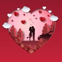 couple de la Saint-Valentin dans un paysage d'amour vecteur