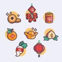 ensemble d'icône de dessin animé de nouvel an chinois vecteur