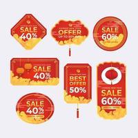 ensemble d'étiquette d'offre de vente du nouvel an chinois vecteur