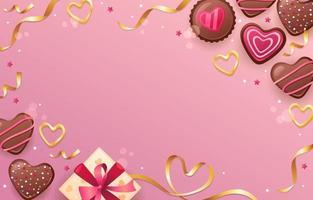 chocolat d'amour doux avec des rubans vecteur